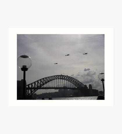 Black Hawk Helicopters, Sydney Harbour Bridge Art Print