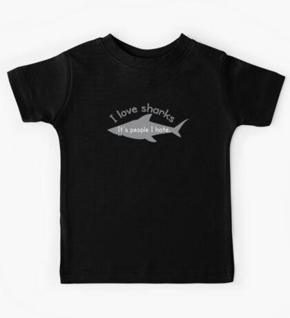 I love sharks- it's people I hate Kids Tee