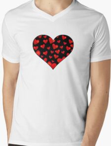 Black Hearts Motif Mens V-Neck T-Shirt