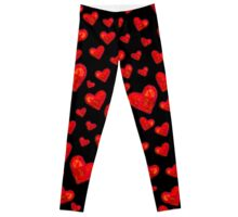Black Hearts Motif Leggings