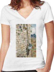Watercolor Tribute to Arthur Rackham's Rapunzel Women's Fitted V-Neck T-Shirt