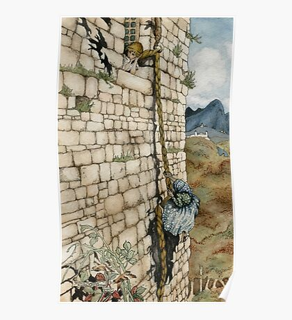 Watercolor Tribute to Arthur Rackham's Rapunzel Poster