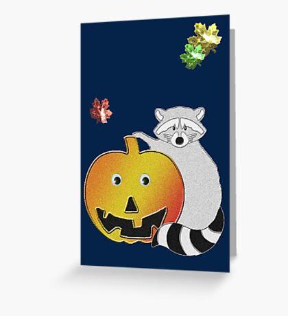 Halloween Raccoon Greeting Card