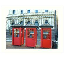Phone Boxes - Dunedin Art Print