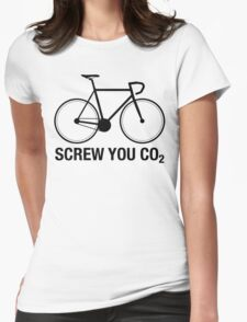 SCREW YOU CO2 | Black Ink Womens Fitted T-Shirt