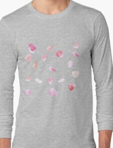 Pink Rose Petals Long Sleeve T-Shirt
