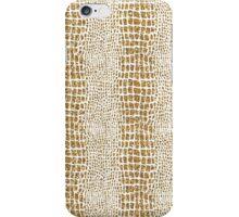 Gold Glitter Alligator Print iPhone Case/Skin