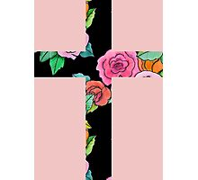Christian Cross with roses Photographic Print