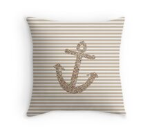Gold Stripes Nautical Anchor Throw Pillow