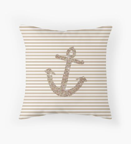 Gold Stripes Nautical Anchor Throw Pillow