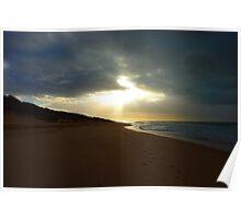 Sunburst on a deserted beach Poster