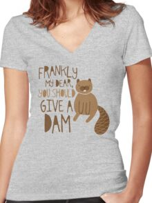 You Should Give a Dam Women's Fitted V-Neck T-Shirt