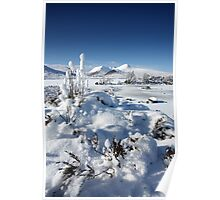 Clach Leathad and Meall a' Bhuiridh and a frozen Lochan na h Achlaise on Rannoch Moor.  Poster
