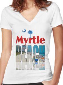BEACH T-SHIRT Women's Fitted V-Neck T-Shirt