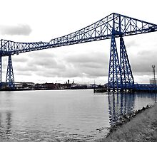 Black & white view of the Transporter Bridge in Middlesbrough by robwhitehead