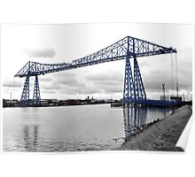 Black & white view of the Transporter Bridge in Middlesbrough Poster