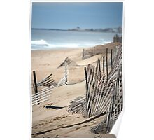 Fences Along a RI Beach Poster