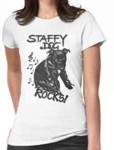 Staffy Dog Rocks! Womens Fitted T-Shirt