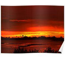 Singeing sunset Poster