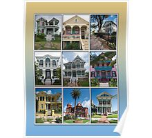 Victorian Homes of Galveston Island Poster