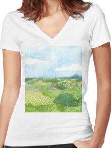 Tuscan Rose Women's Fitted V-Neck T-Shirt
