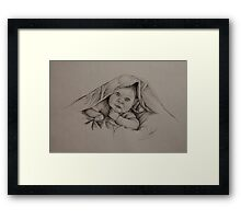 Baby and Blanket - B&W Framed Print