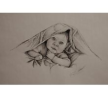 Baby and Blanket - B&W Photographic Print