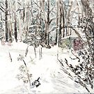 Toolshed at Woods' Edge, in Snow by F.A. Moore