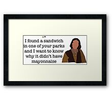 Mayonnaise Lady Parks and Recreation Framed Print
