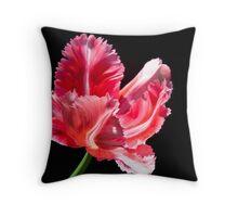 Pink Parrot Tulip Throw Pillow