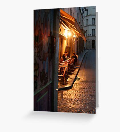 Night at the Mouffetard Café Greeting Card