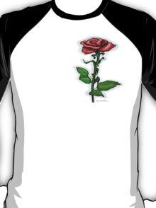 Single Red Rose Pocket Tee T-Shirt