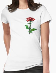 Single Red Rose Pocket Tee Womens Fitted T-Shirt