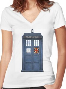 Police Box Union Jack Women's Fitted V-Neck T-Shirt