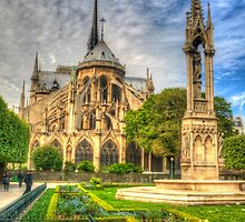 Notre Dame with Garden & Fountain by Michael Matthews