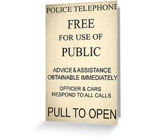 Police Box Sign Greeting Card
