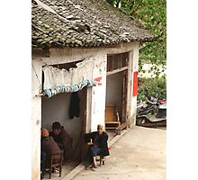 old man, China , and moped Photographic Print
