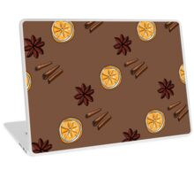 Pattern of star anise, cinnamon and orange circles Laptop Skin