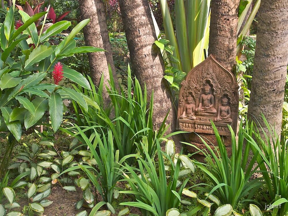 Thailand, Bangkok, garden detail from the Marriot Hotel. by johnrf
