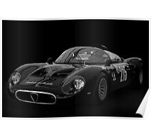 Alfa Romeo Tipo 33 Periscope BW With Black Background Poster