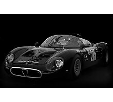 Alfa Romeo Tipo 33 Periscope BW With Black Background Photographic Print