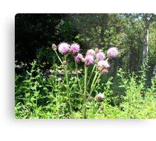 Purple Flowers & Bumble Bee Metal Print