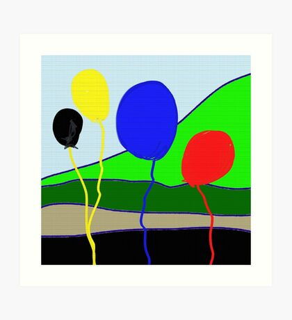 Balloons, primary colors Art Print