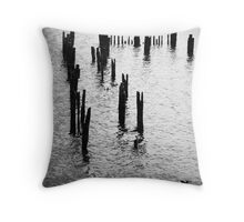 Remains of a jetty at Strahan, Tasmania Throw Pillow