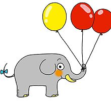 Baby elephant with 3 party balloons by CuteCartoon