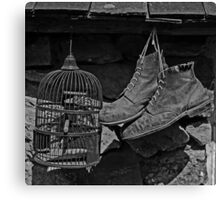Birdcage and Boots Canvas Print