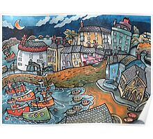 Bobbing boat harbour, Tenby, Wales Poster
