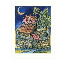 Piggler on the roof! Art Print
