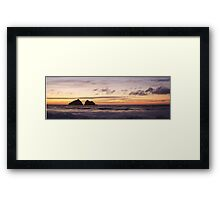 panoramic sunset at holywell bay, newquay UK Framed Print