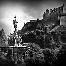 The Ross Fountain & Edinburgh Castle  by Aj Finan